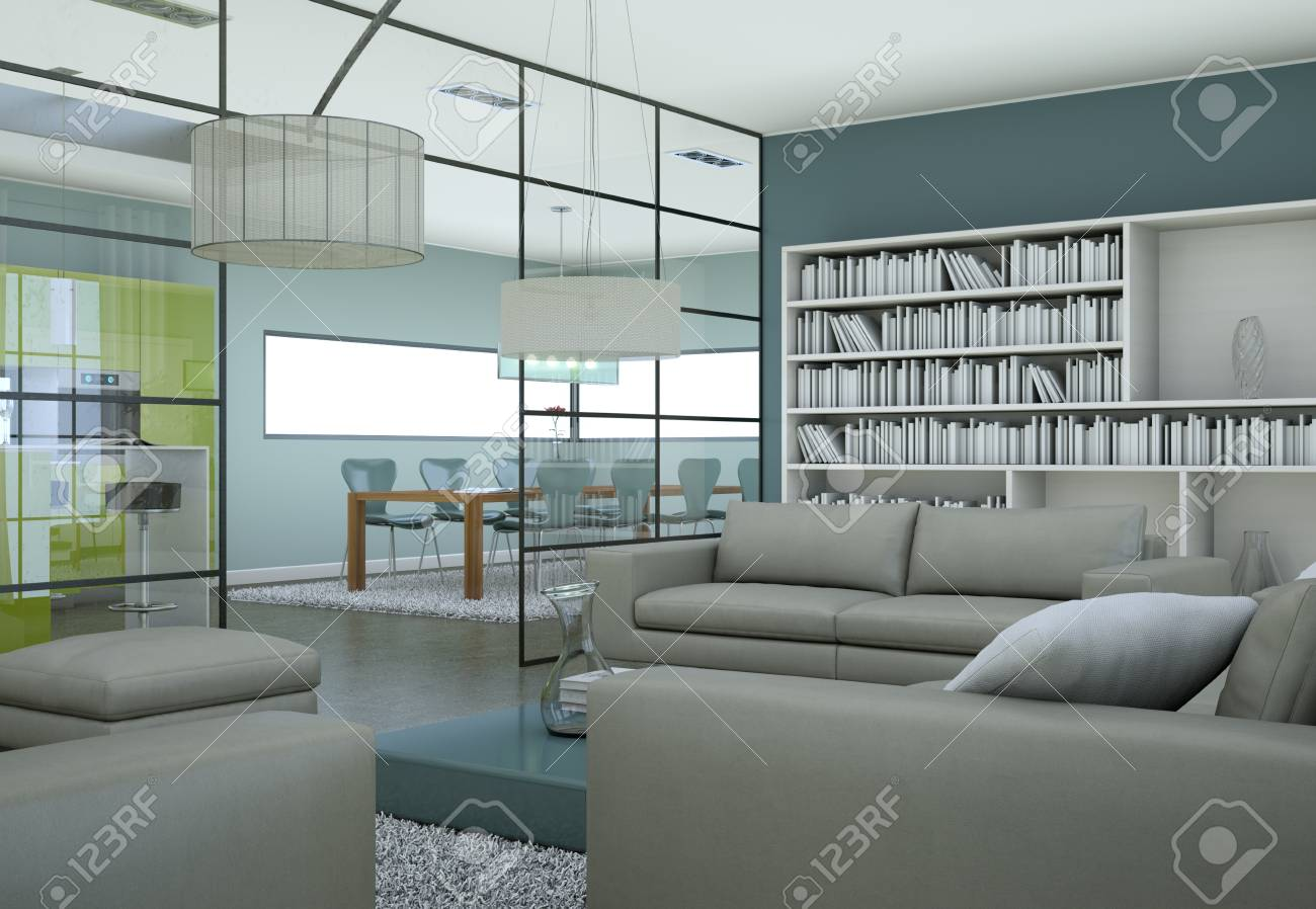 Modern Minimalist Living Room Interior In Loft Design Style With