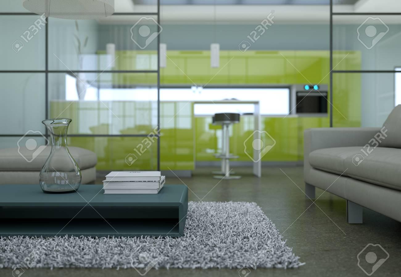 Uberlegen Modern Minimalist Living Room Interior In Loft Design Style With  Sofas 3d Rendering Standard Bild