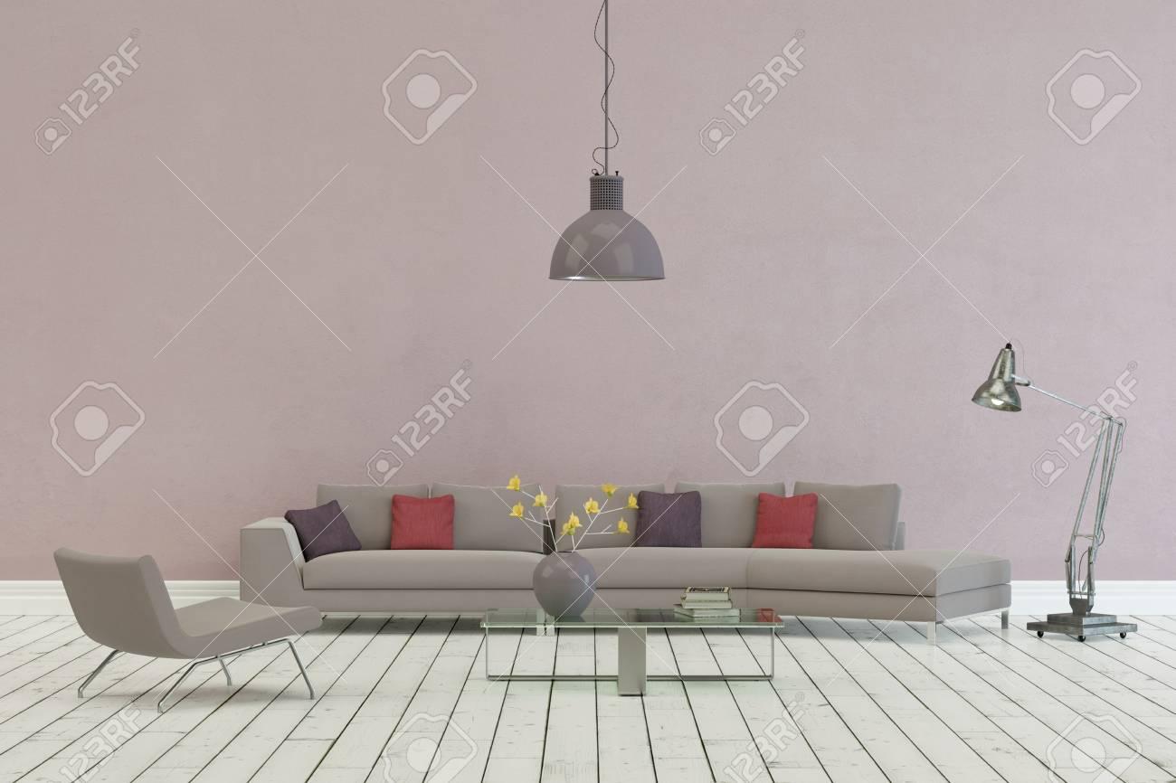 Grey Sofa In Modern Scandinavian Design With Purple Wall 3D ...