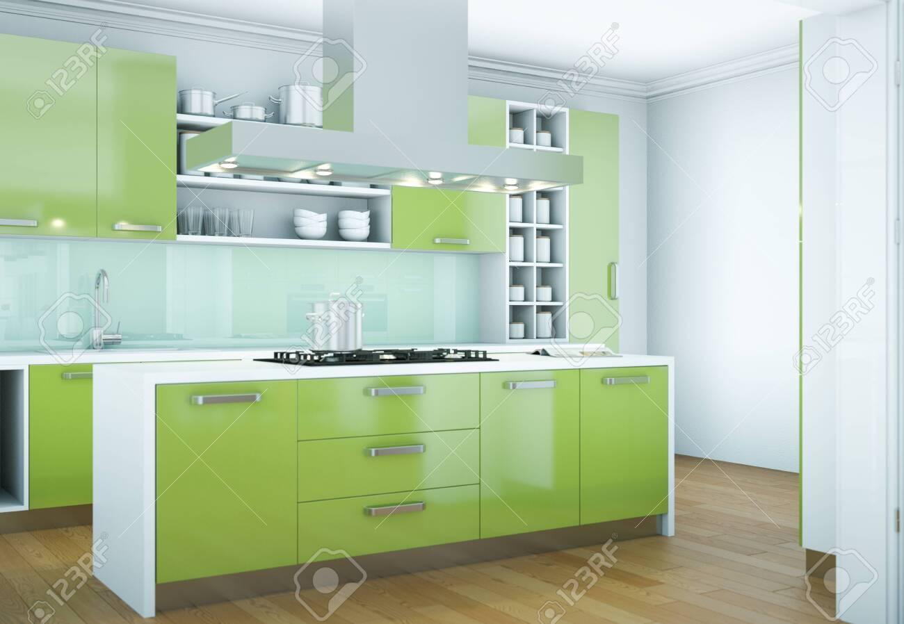 9d Illustration of a green modern kitchen interior design
