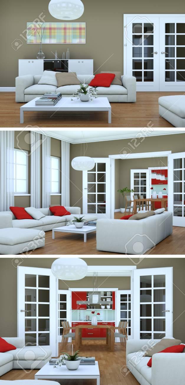Stock Photo   Three Views Of Modern Interior Loft Design 3d Rendering