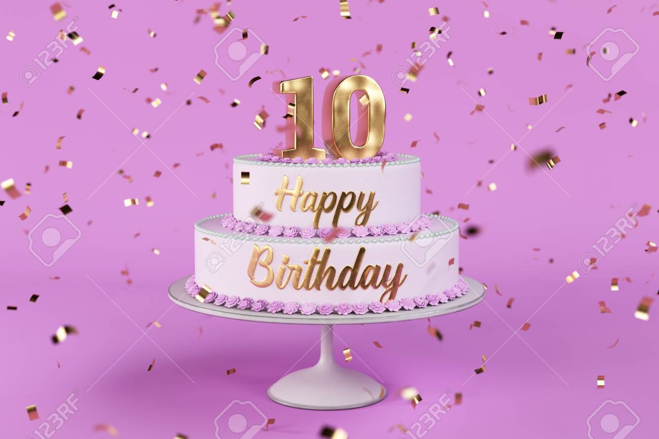Birthday Cake With Golden Letters And Rose Background 3d