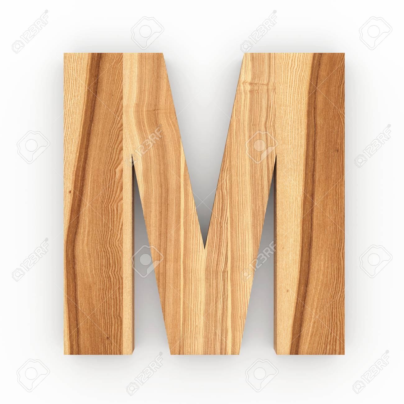 illustration wooden letter m isolated on white background 3d illustration