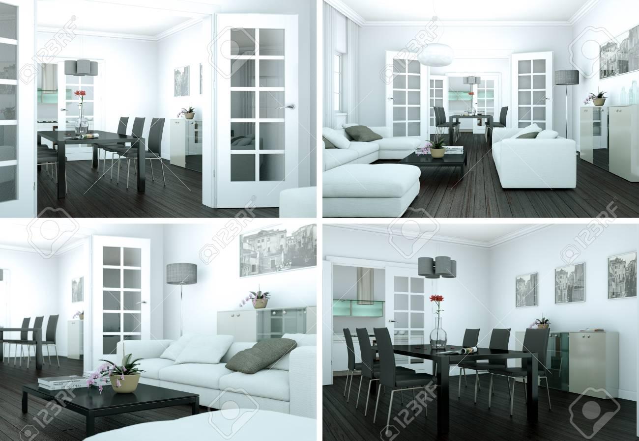 Four views of modern interior loft design d illustration
