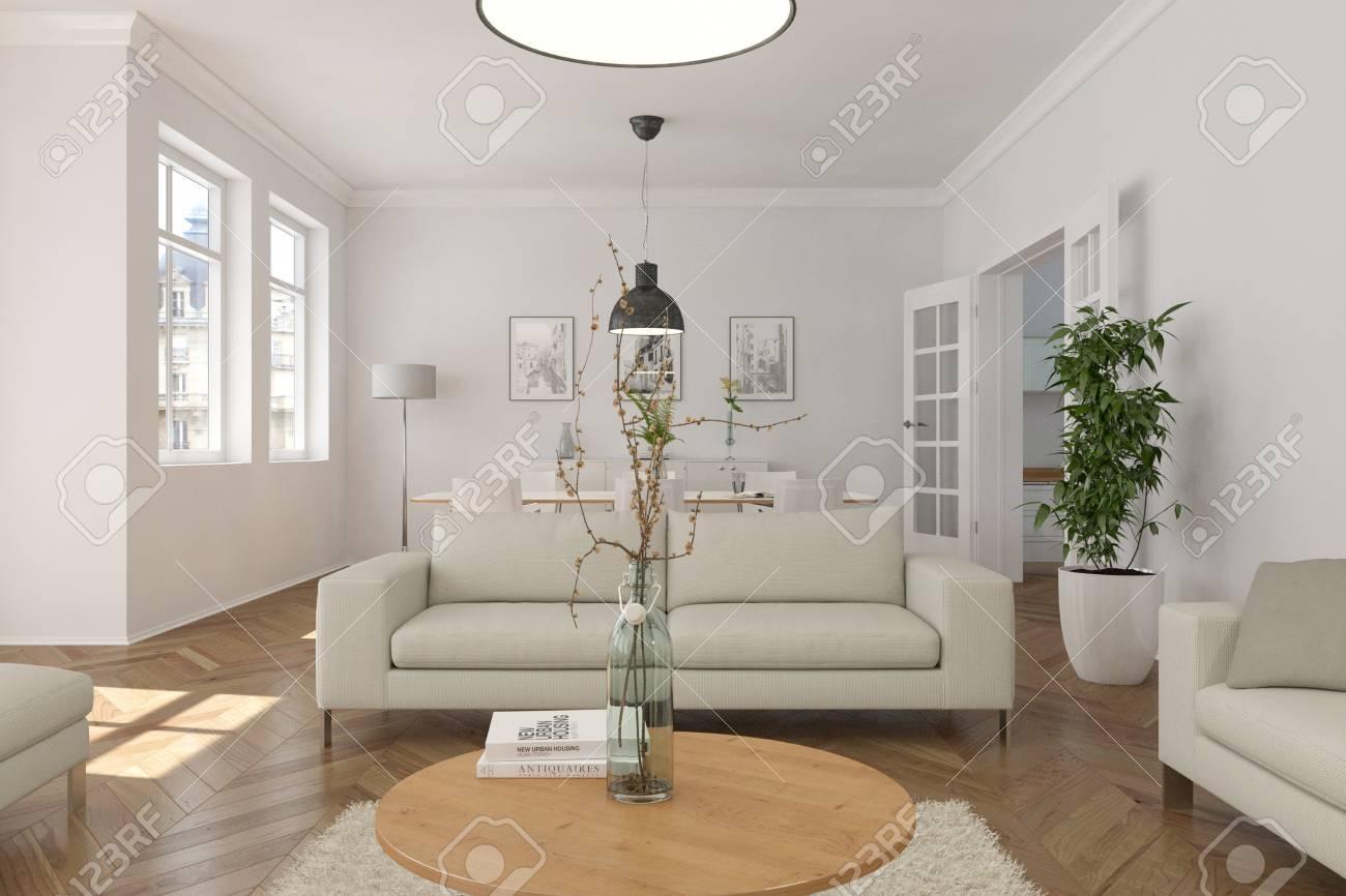 Modern White Skandinavian Interior Design Living Room 3d