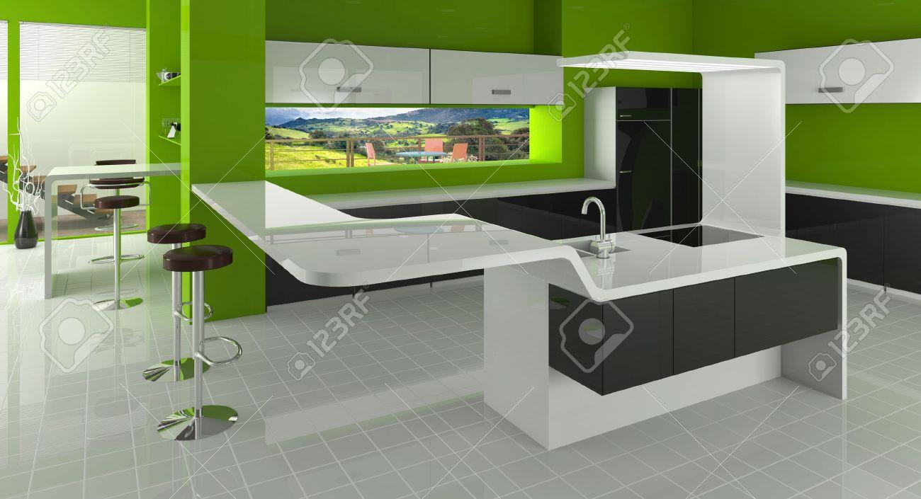 Cuisine moderne en vert, les couleurs noir et blanc banque d ...