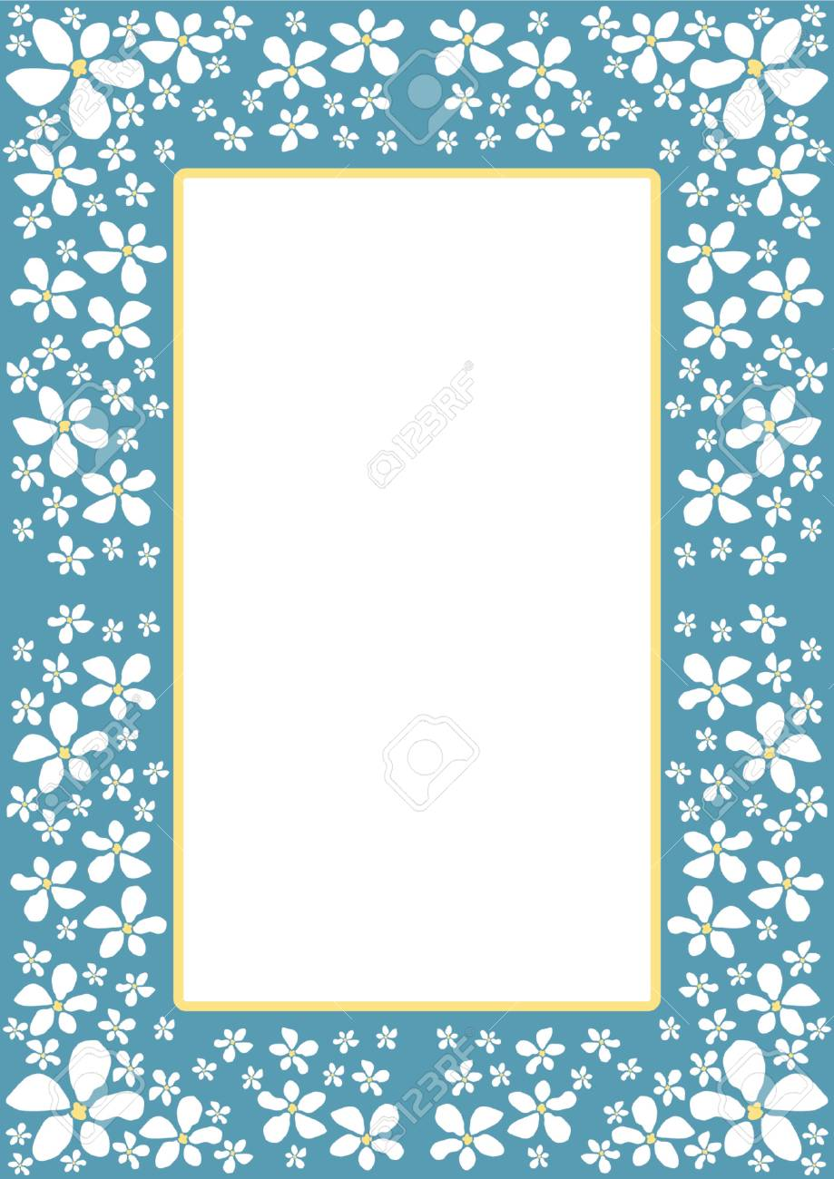 Border with white flowers Stock Vector - 1156290