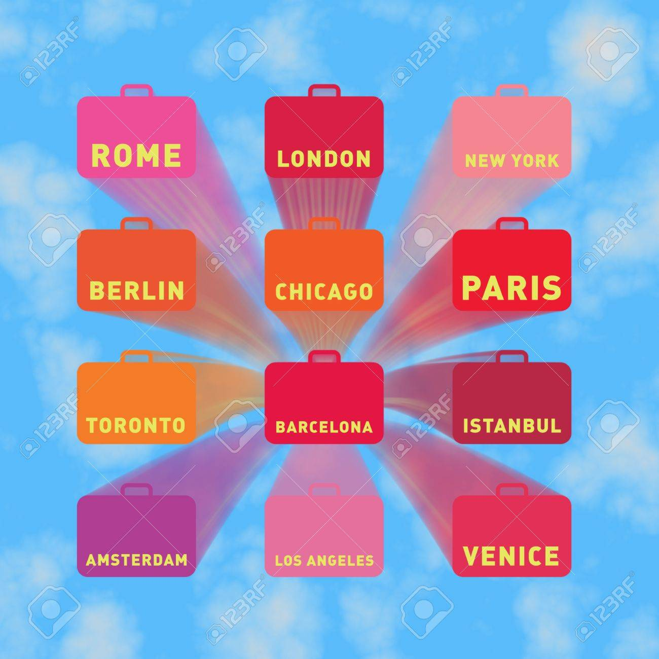 Twelve flying suitcases with city names, blue sky Stock Photo - 2814836