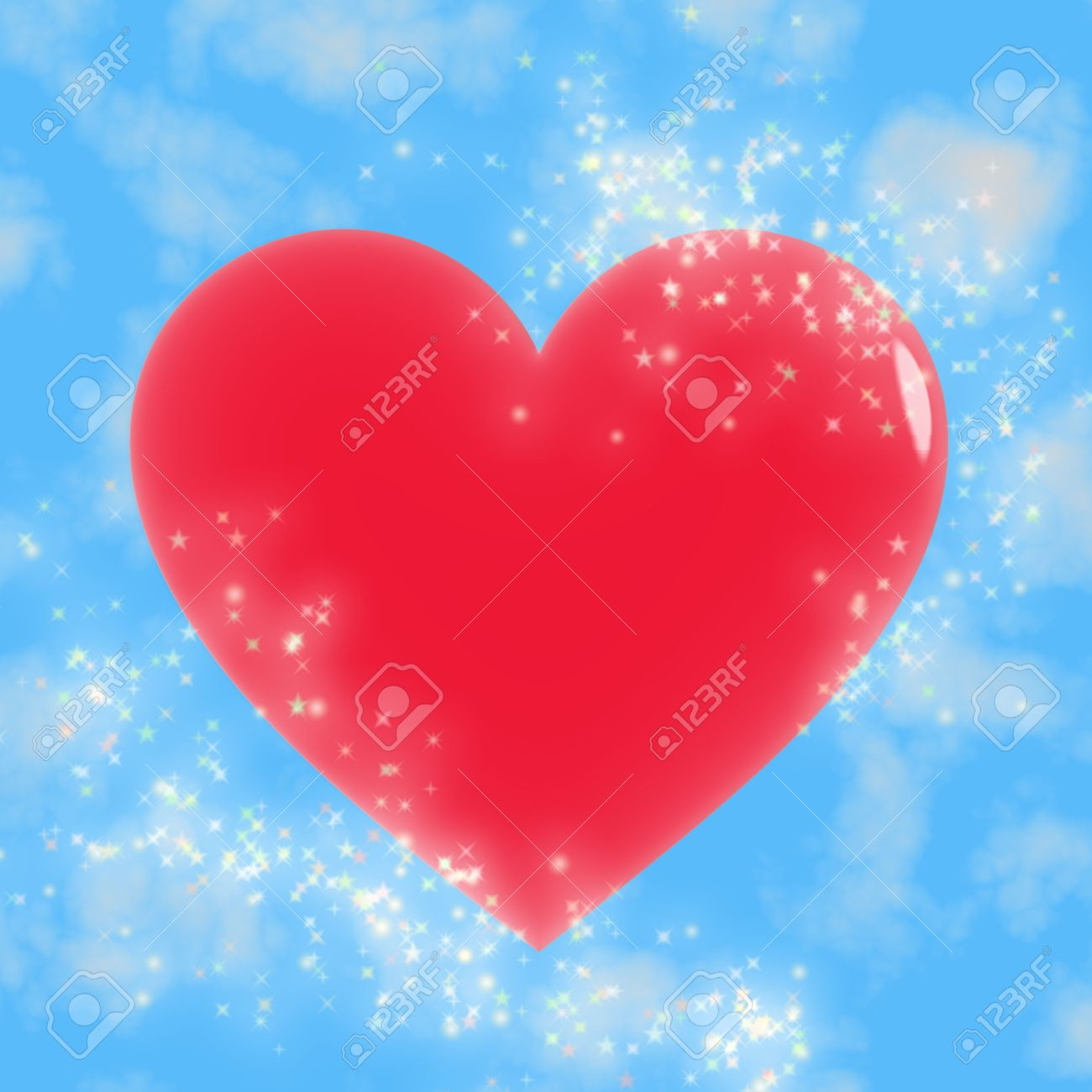 Red heart with lots of bright stars against a blue sky Stock Photo - 2886844