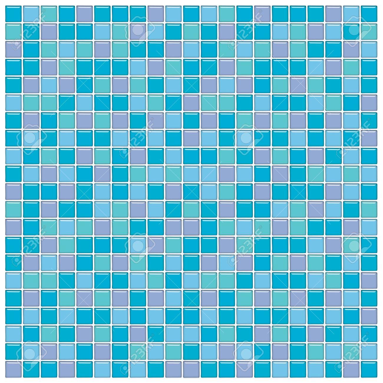 Wand Des Badezimmers Mit Blau, Grün Und Lila Glas Mosaik Fliesen  Lizenzfreie Bilder