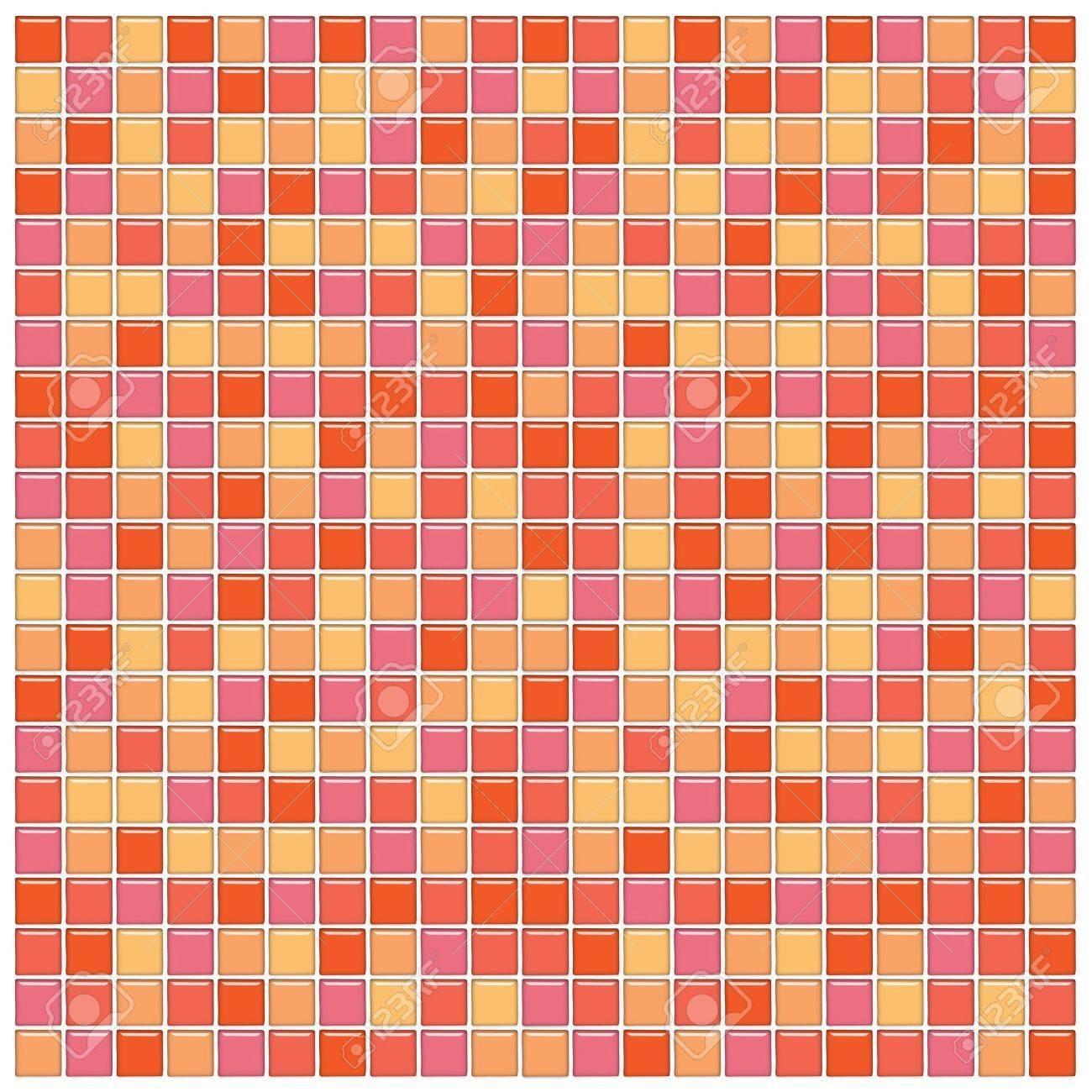 bagno muro con tessere di mosaico di vetro arancione e rosa foto ... - Bagni Moderni Rosa