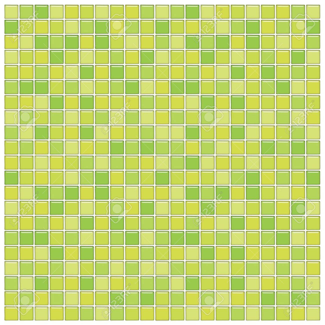 bathroom wall with green glass mosaic tiles stock photo