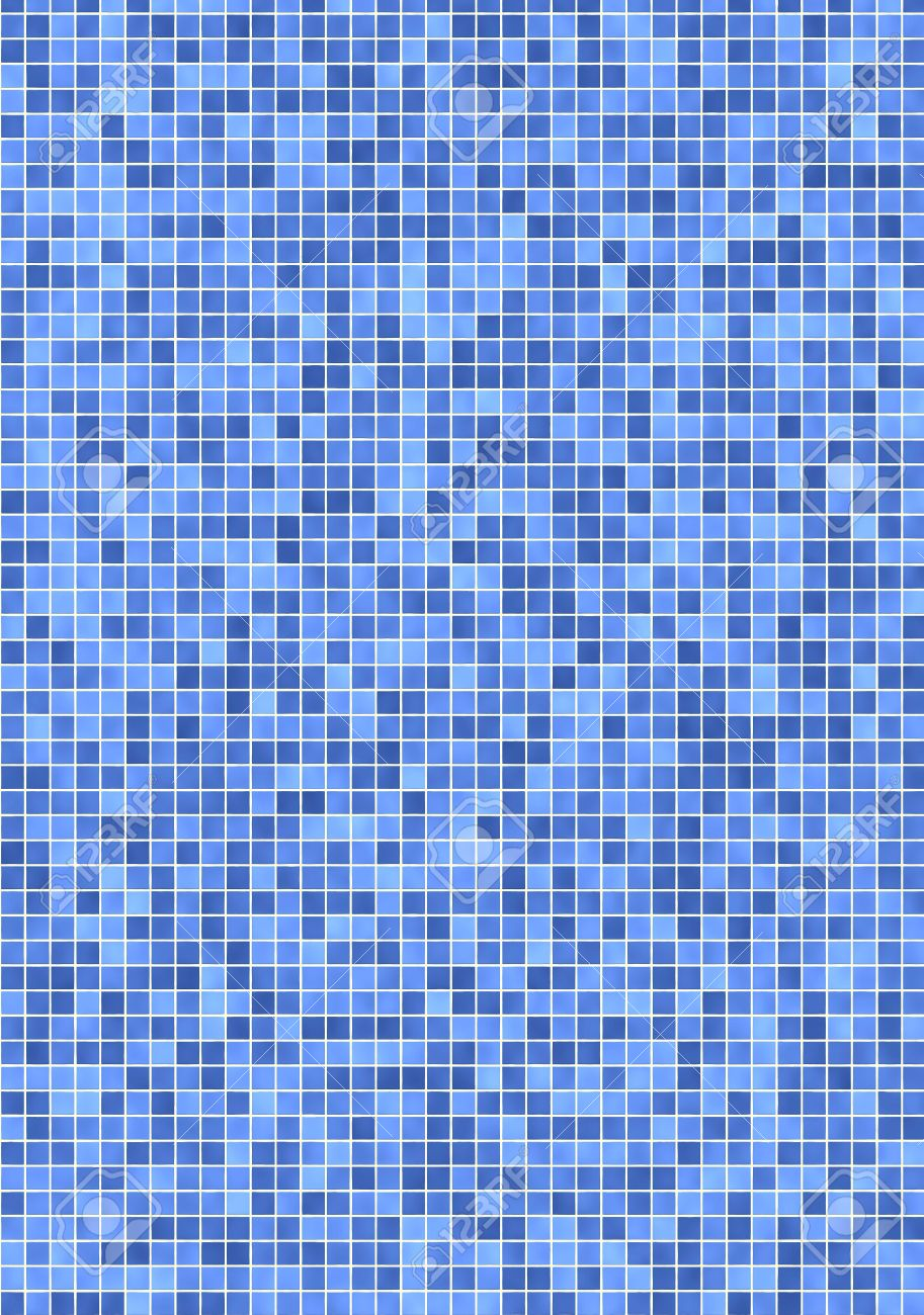 Bathroom Wall With Small, Light And Darker Blue Mosaic Tiles Stock ...