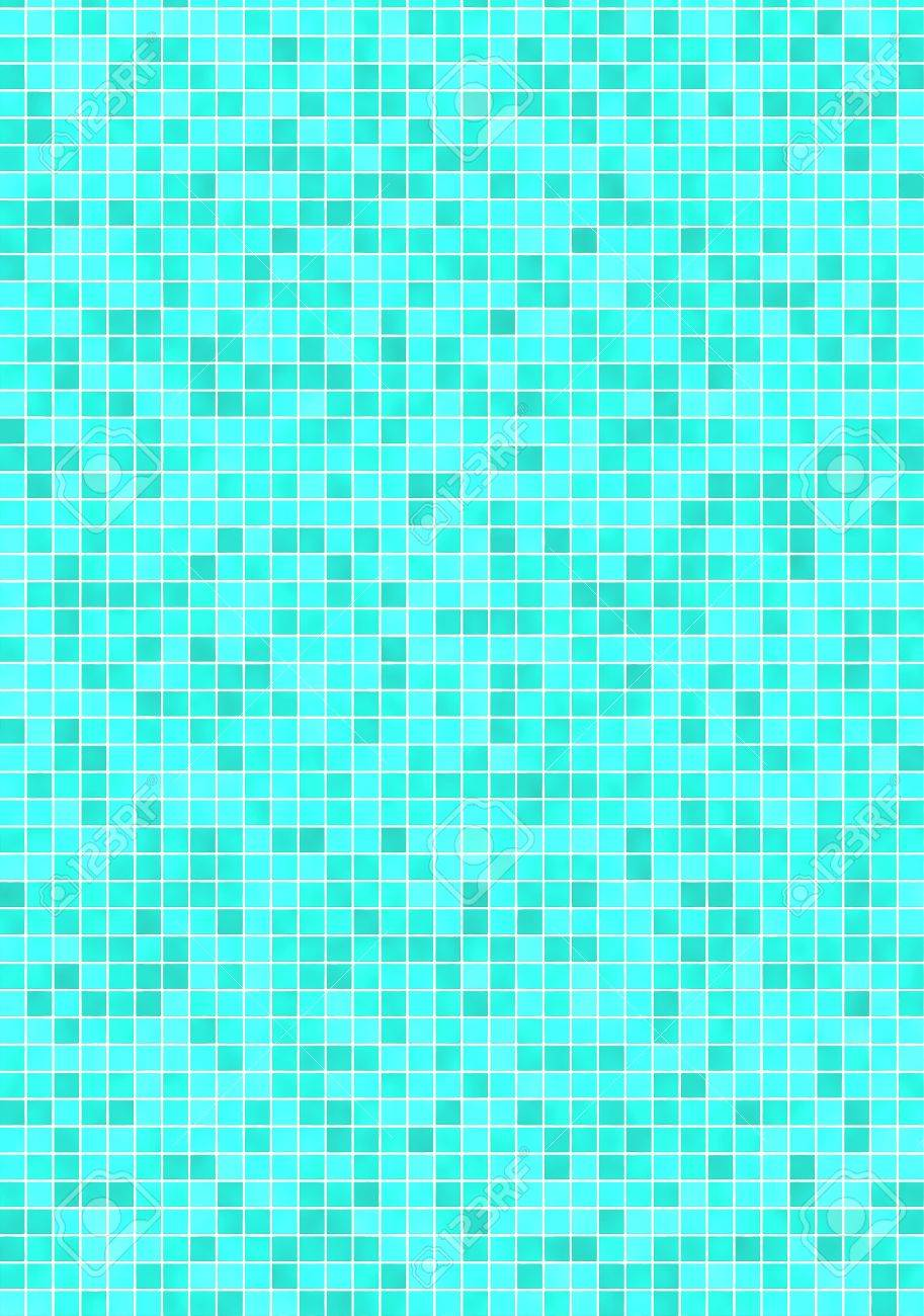 Bathroom Wall With Small, Green Blue Mosaic Tiles Banco De Imagens   2986582