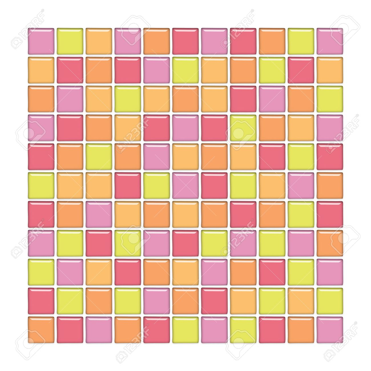 Bathroom Wall With Pink, Yellow And Orange Glass Mosaic Tiles Stock Photo    3011729