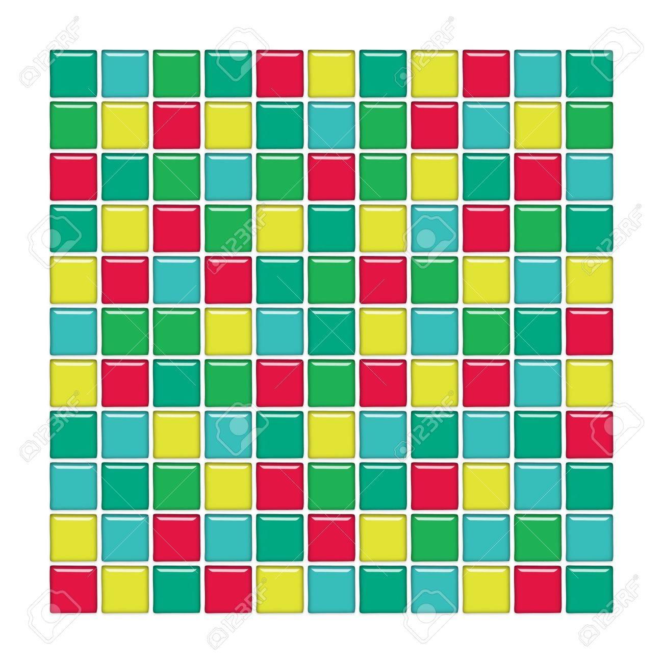 Badezimmer Wand Mit Blauen, Grünen, Gelben Und Roten Glas Mosaik  Standard Bild