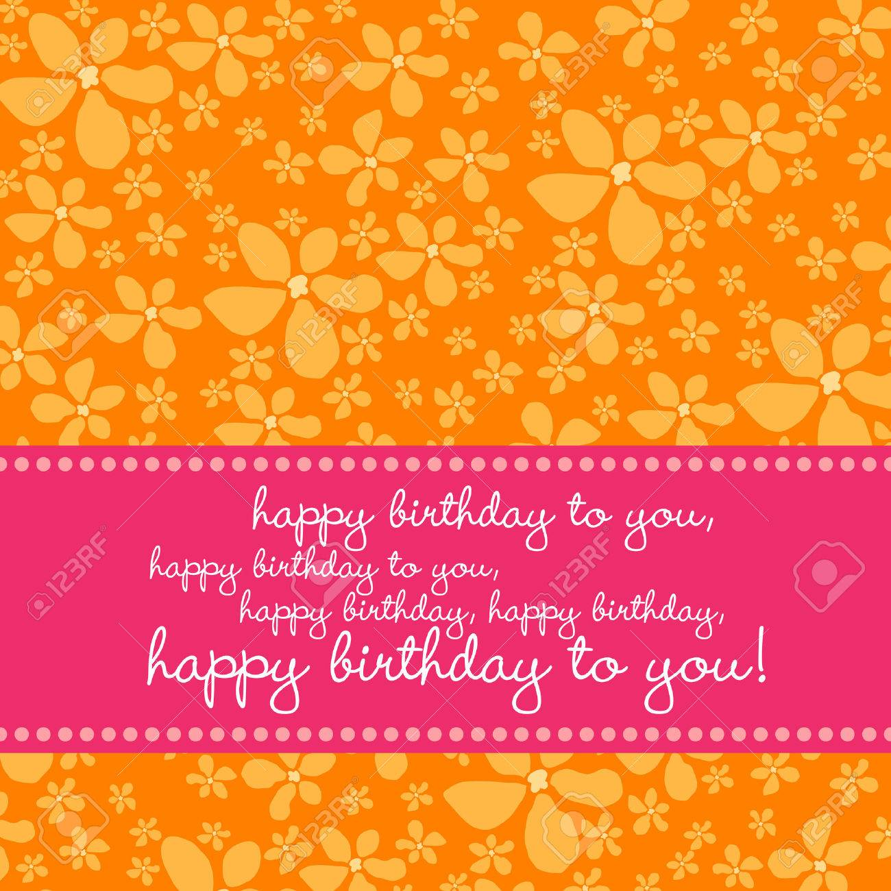Bright colored birthday greetingcard with retro flower pattern in pink, orange, white. Stock Vector - 3452078