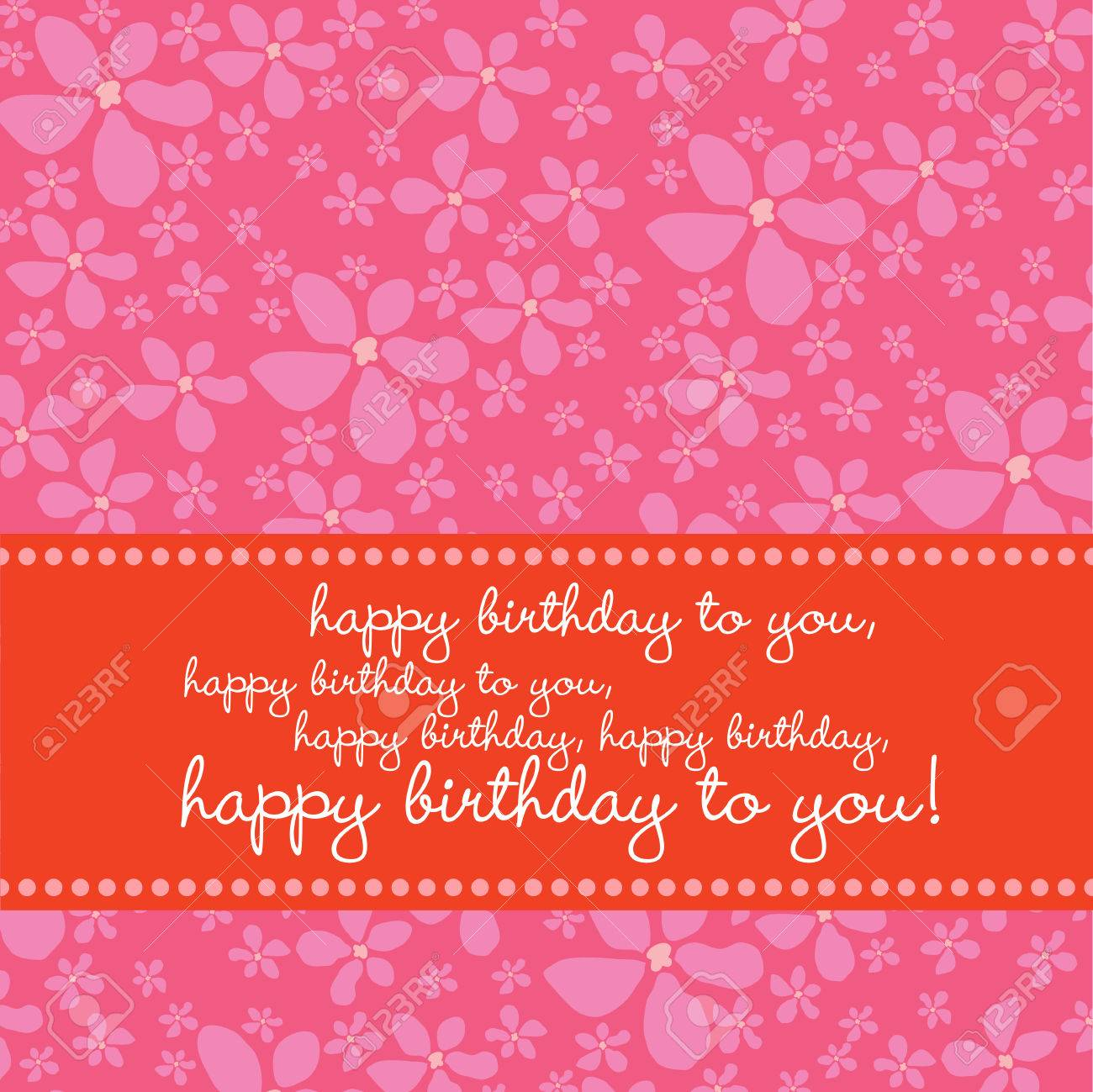 Bright colored birthday greeting card with retro flower pattern in pink, red, white. Stock Vector - 3459250