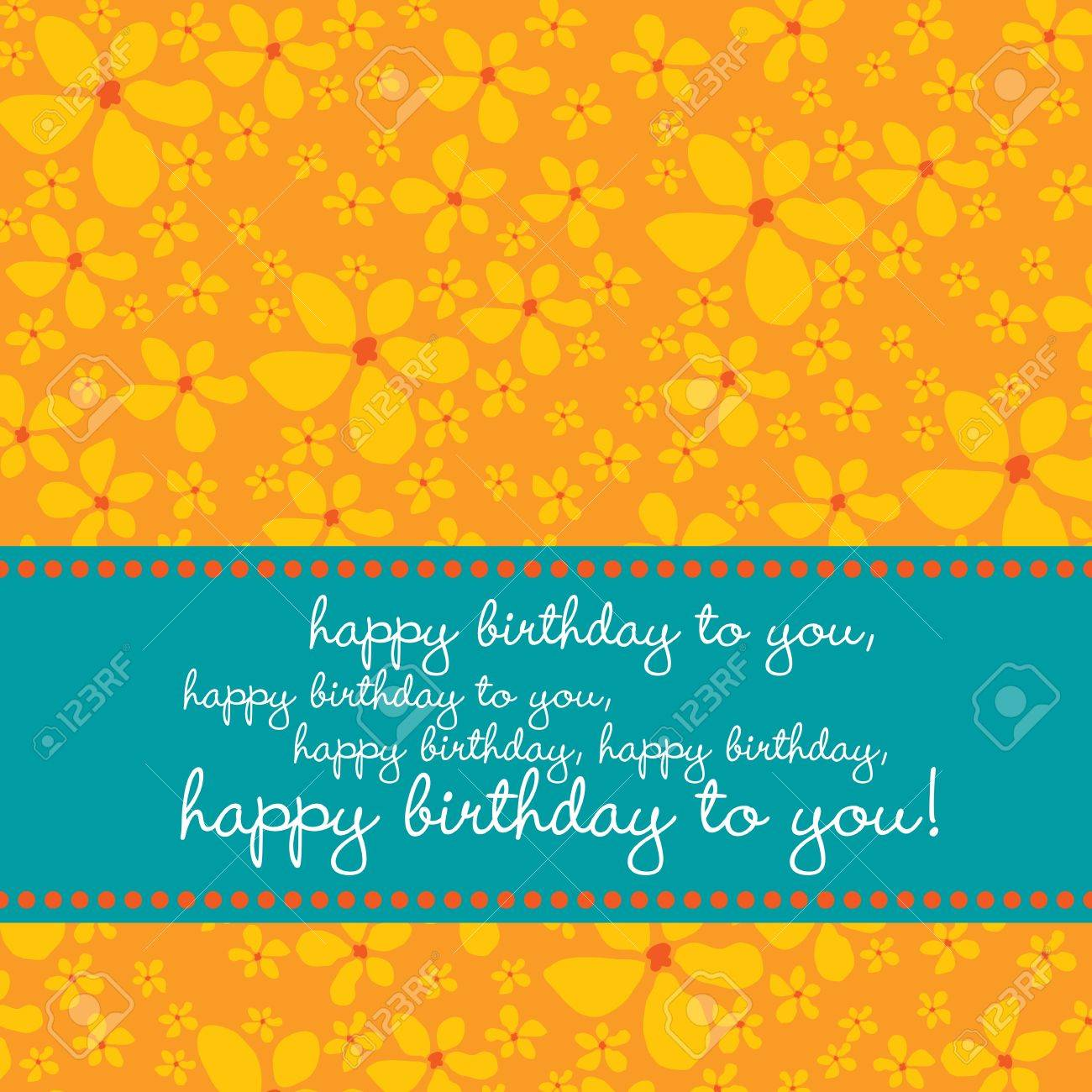 Bright colored birthday greetingcard with retro flower pattern in red, orange, blue, white. Stock Vector - 3466208