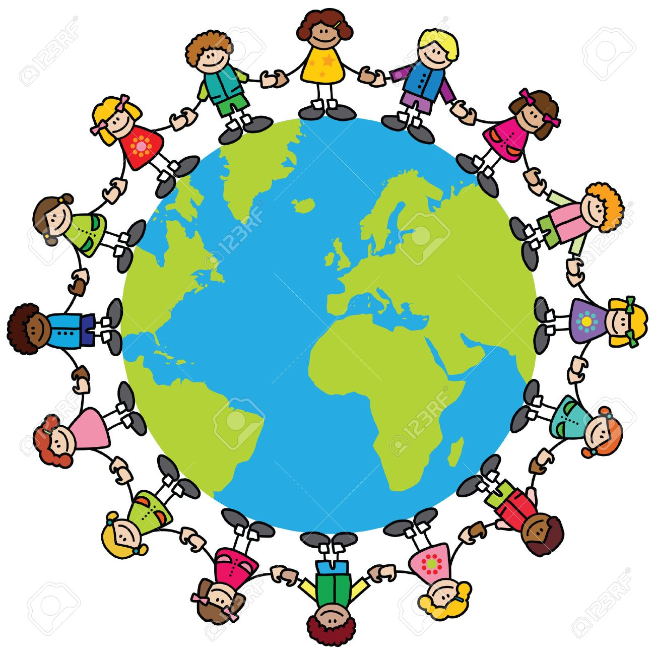 happy children variety of skintones holding hands around the rh 123rf com Clip Art Black and White around the World Plane Clip Art around the World