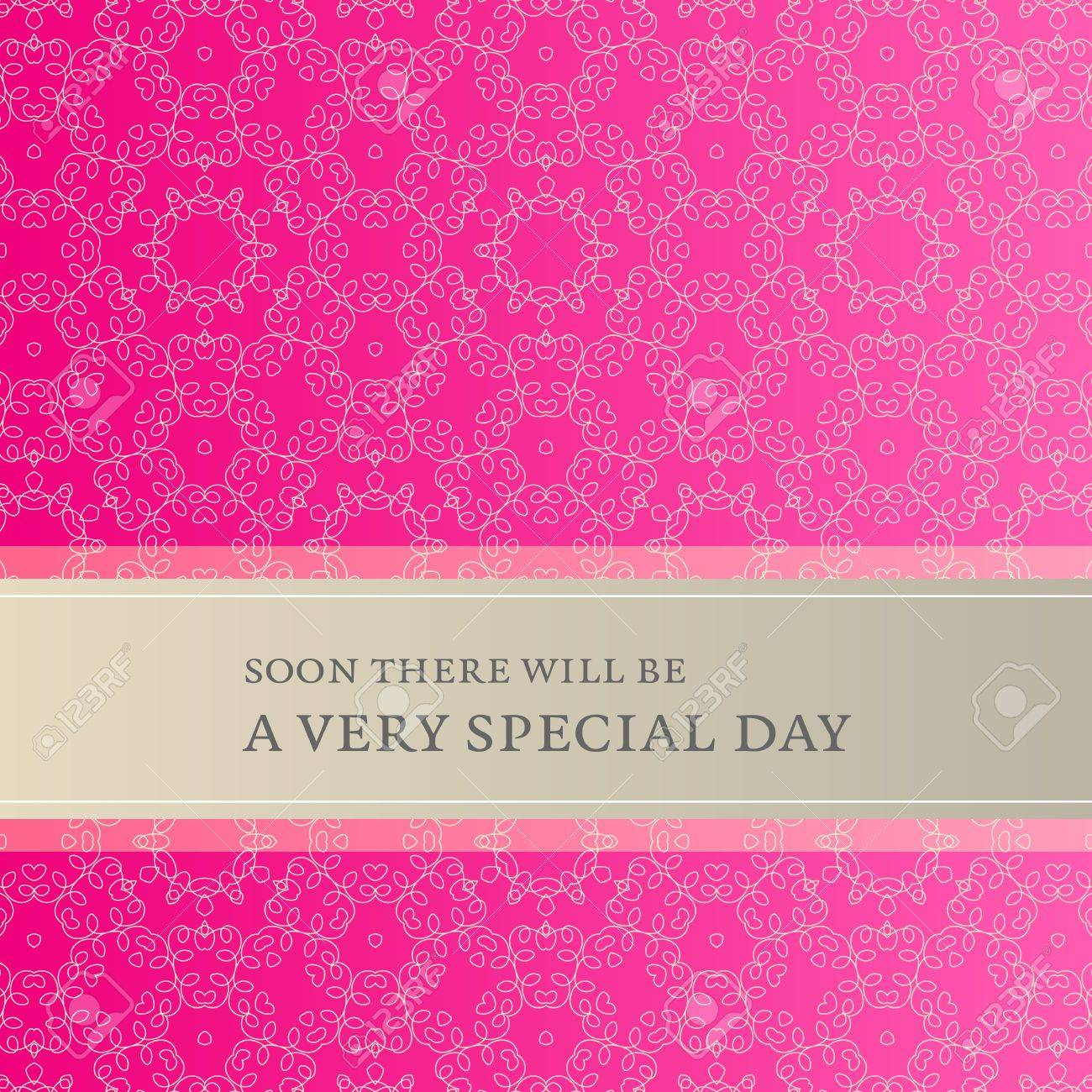 Stylish Invitation Card With Lace Pattern And Banner For Your