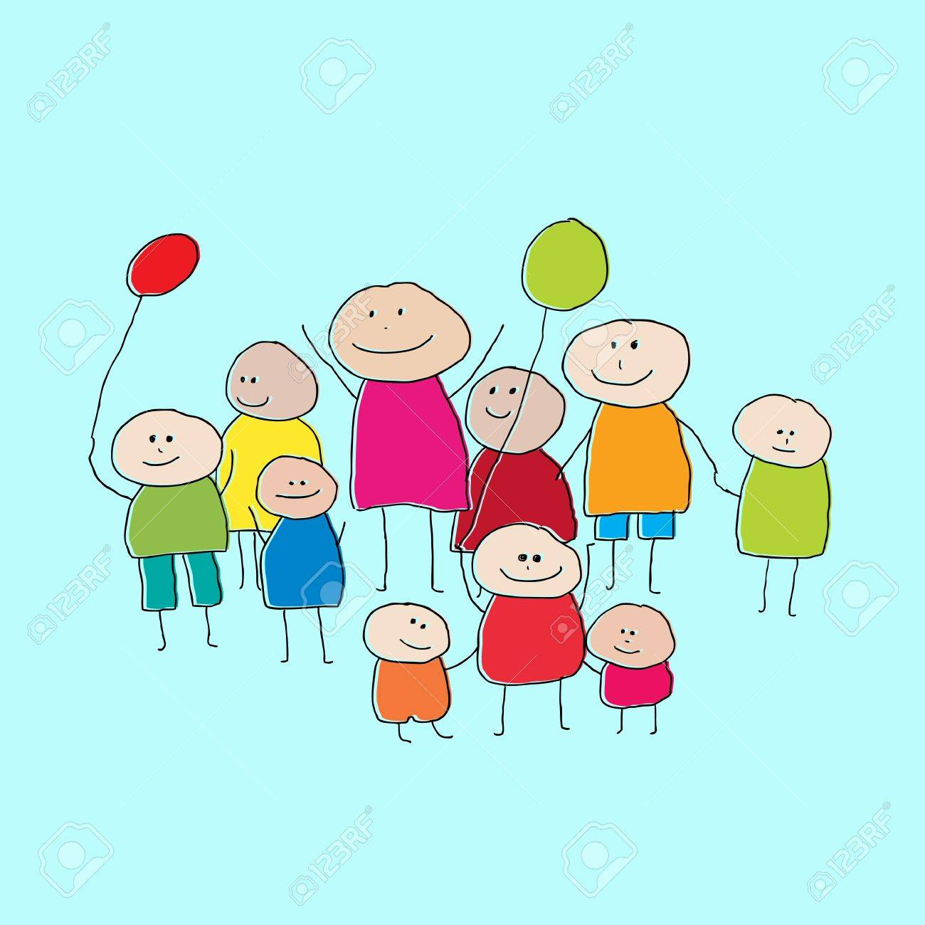 Drawing of a group of people or big family with little children and balloons Stock Vector - 12759591