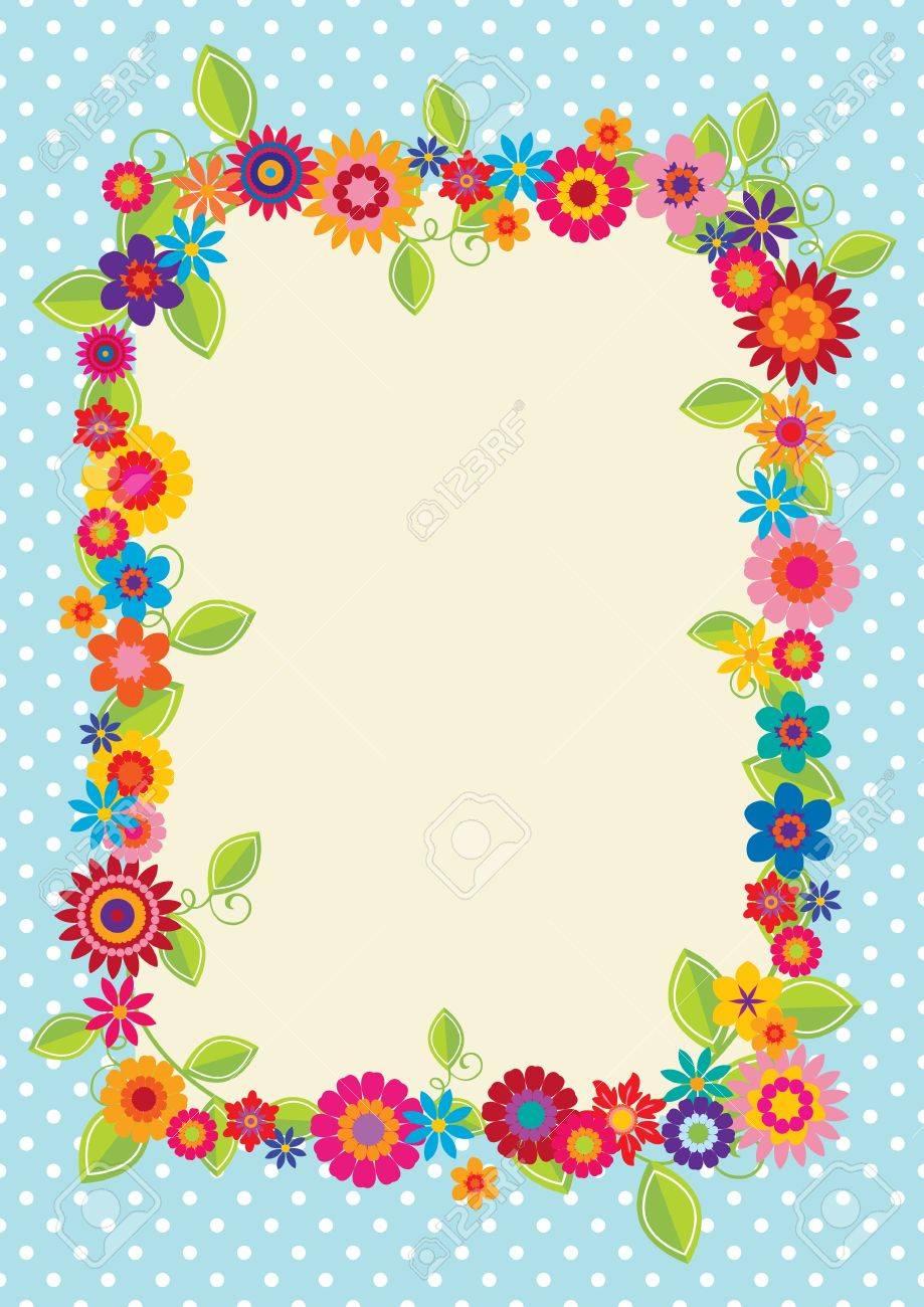 Diseño Con Lunares Y Flores Para Utilizarlo Como Un Marco, La ...