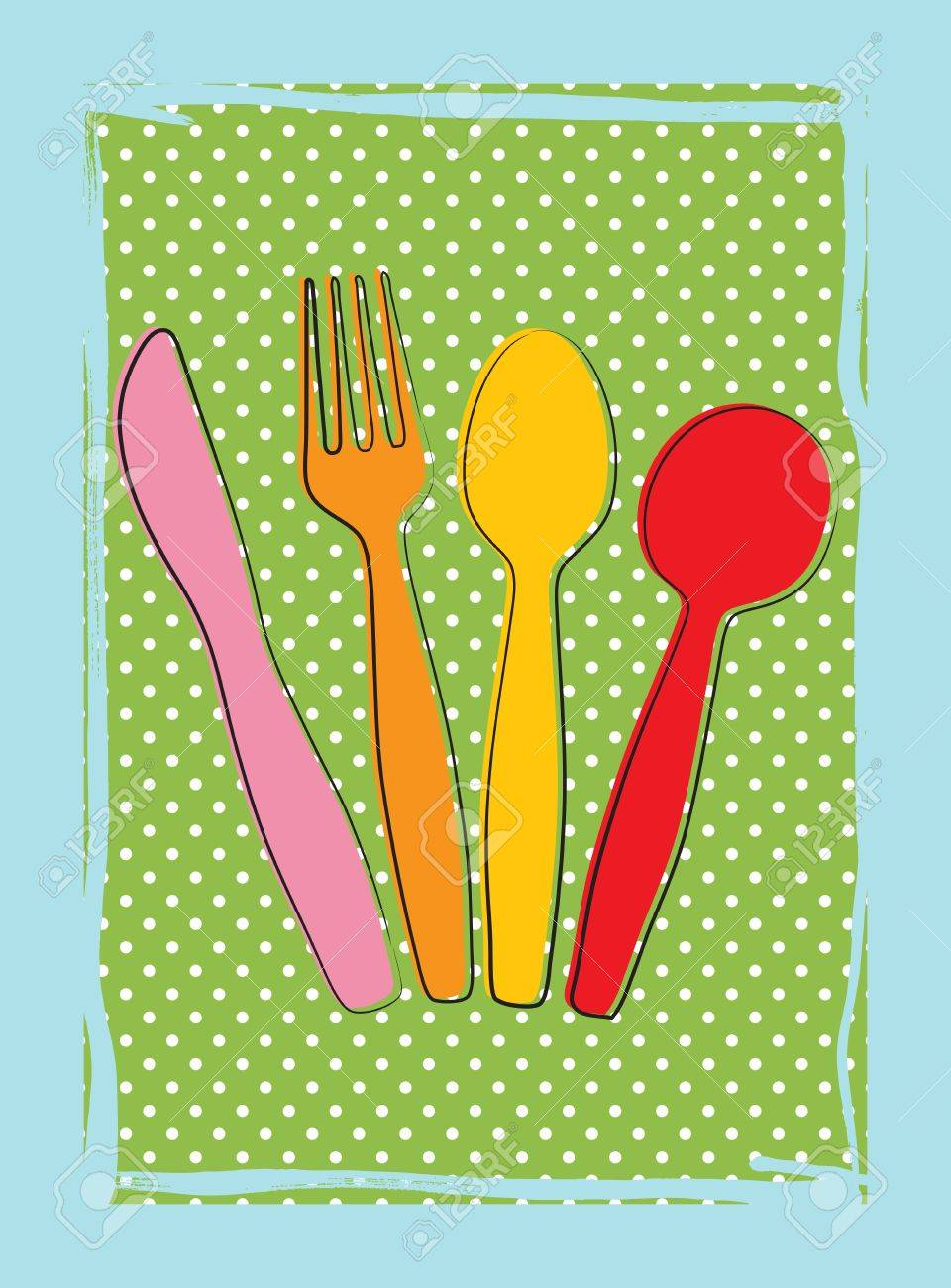 Dinnertime background with drawings of fork, knife and spoon (cutlery) in retro colours Stock Vector - 12759474