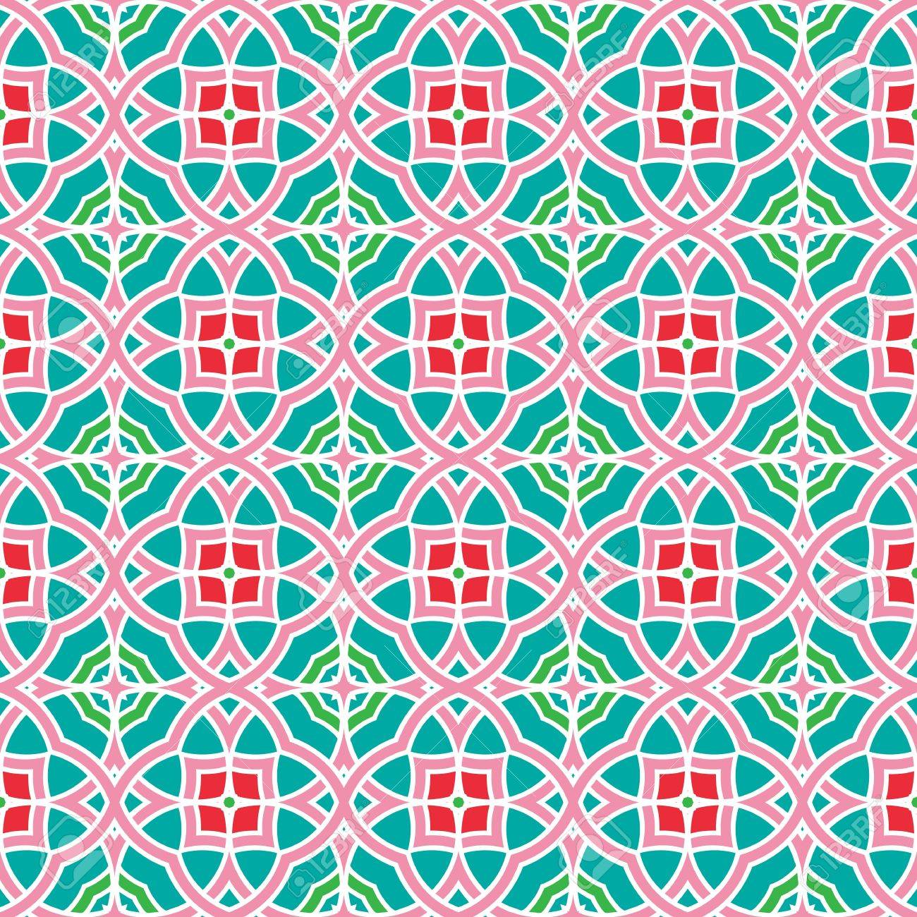 Design for seamless tiles with geometric lines and squares in blue, red, pink, green Stock Vector - 12759504