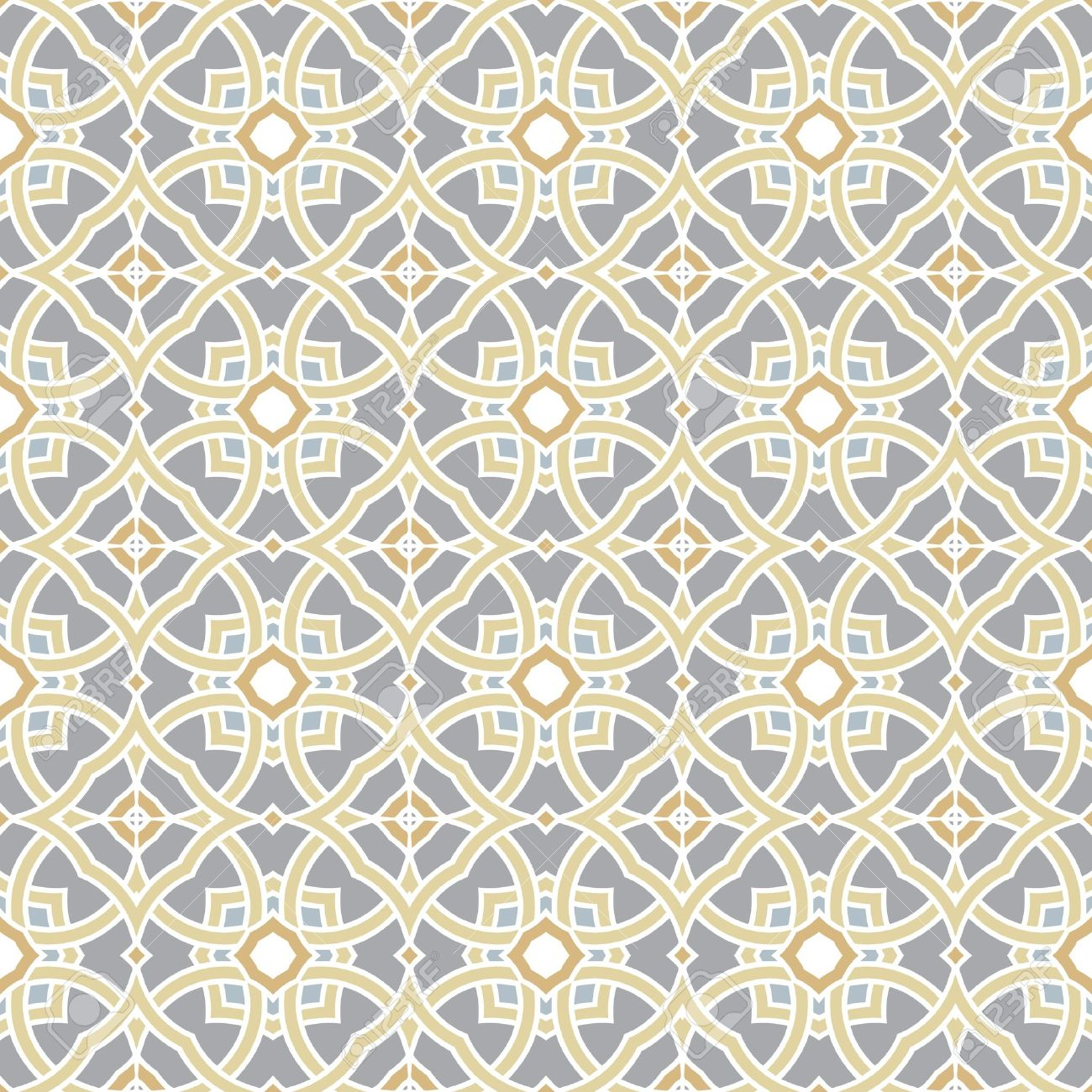 Design for seamless tiles with geometric lines and squares in grey, yellow, oker, brown Stock Vector - 12759513