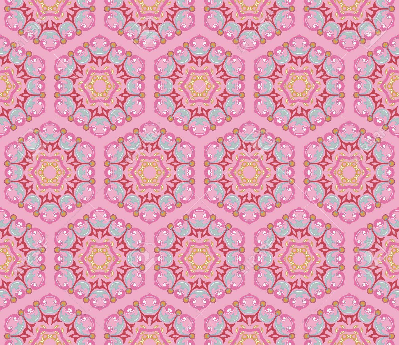Vintage damask wallpaper pattern with abstract flowers and swirls in pink, blue, purple, brown Stock Vector - 12759622