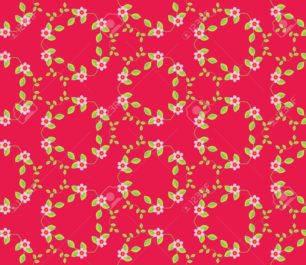 Diseño De Color Rosa Oscuro Patrón De Costura Con Las Ramitas, Hojas ...