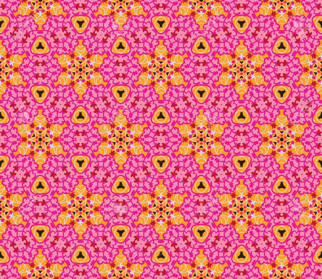 1649a9d7670 Naadloos patroon met abstracte bloemen en sterren in de kleuren roze, rood,  oranje en zwart