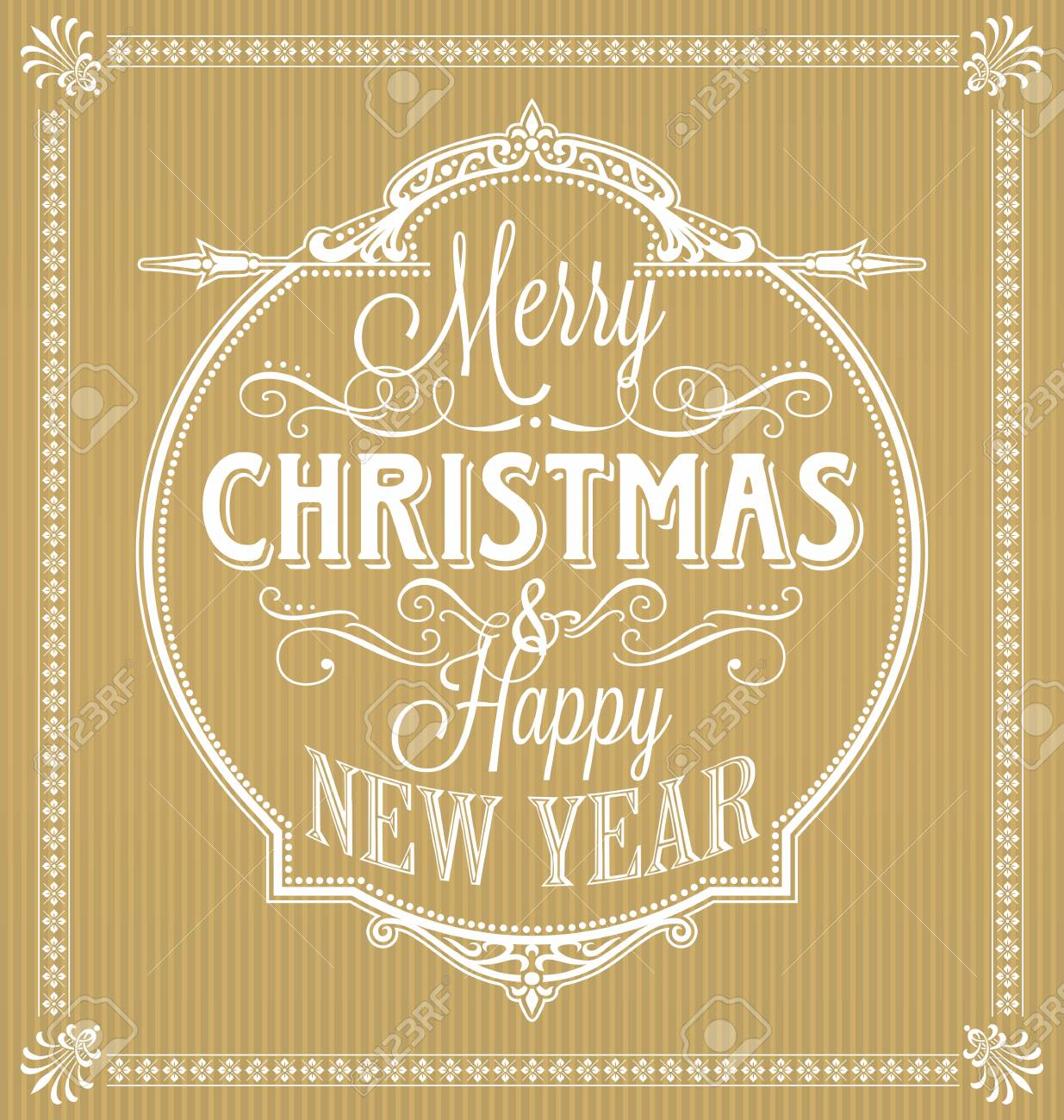 Vintage Merry Christmas.Vintage Merry Christmas And Happy New Year Calligraphic And Ornament