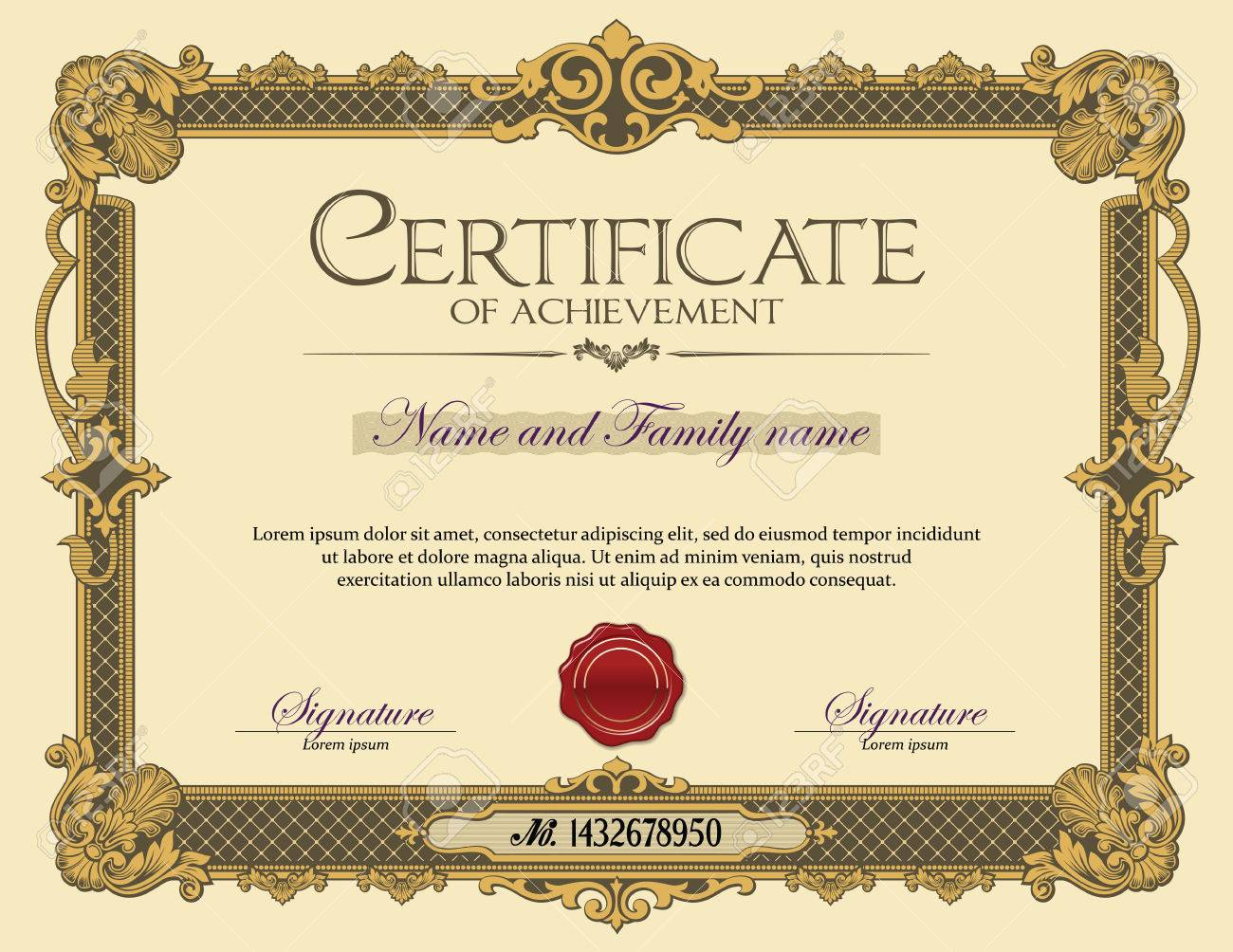 Vintage Ornament Frame Certificate Of Achievement Gold Royalty Free ...