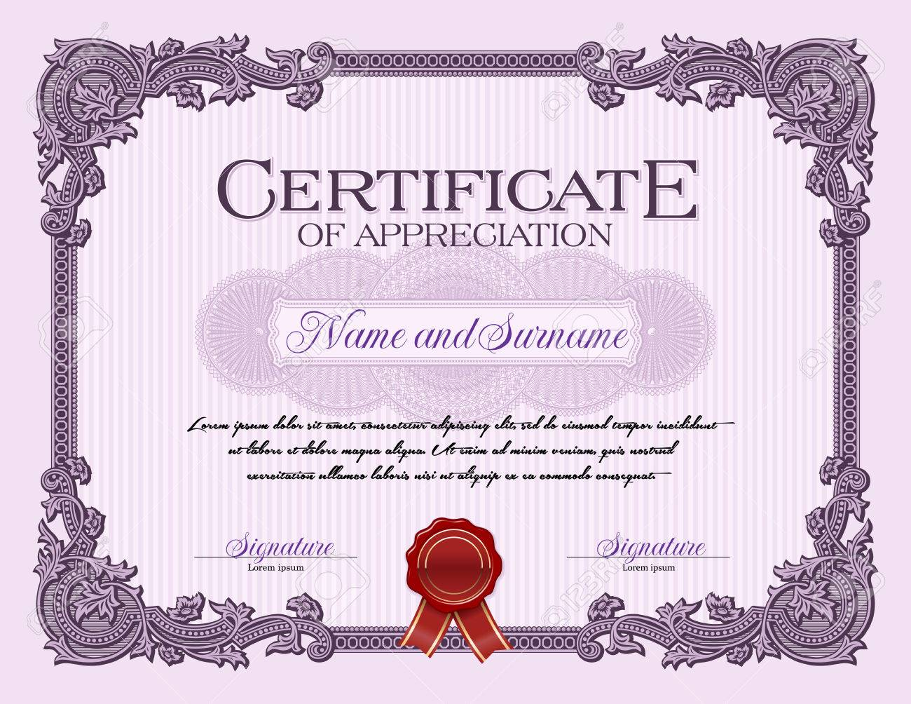 ornament vintage frame certificate of appreciation violet royalty