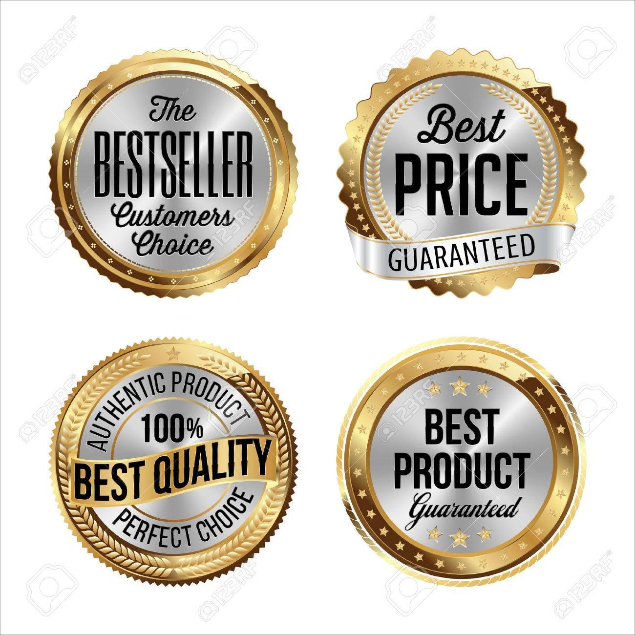 Vettoriale - Oro E Argento Badge. Set Di Quattro. Bestseller ... a3e914ce68d
