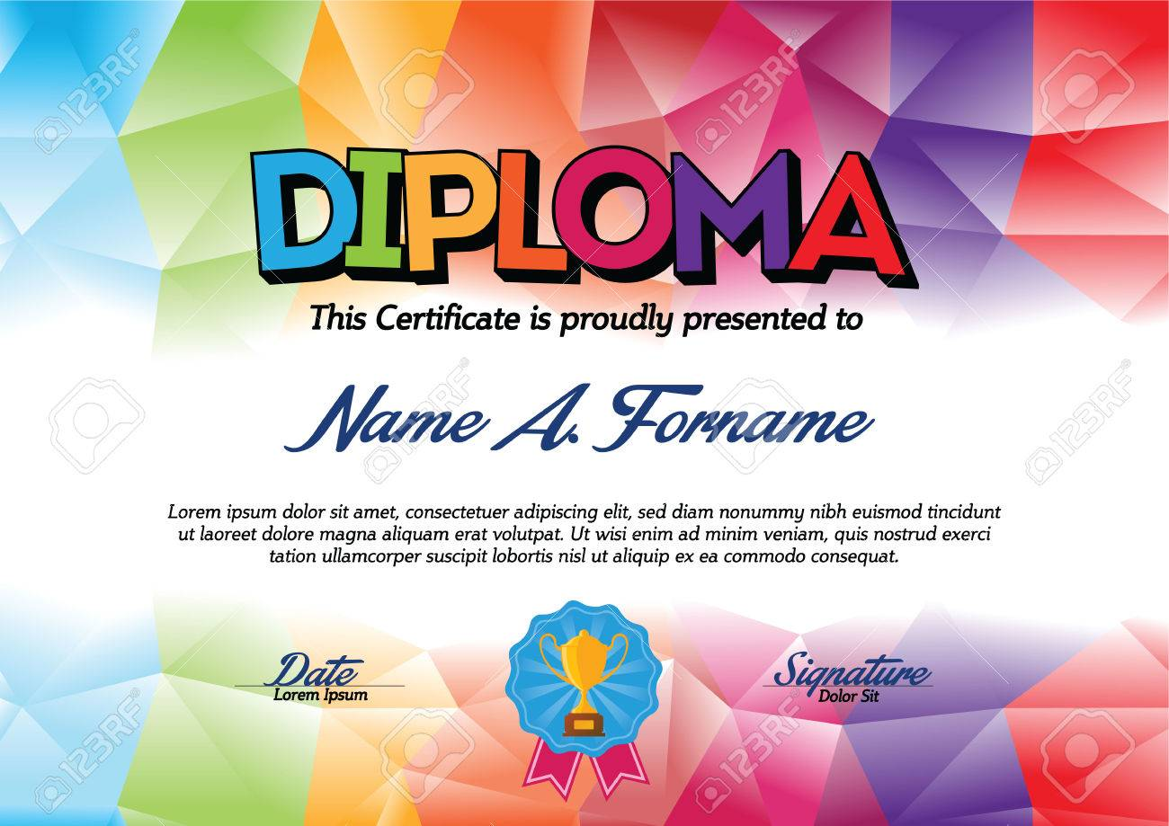 Child certificate template images templates example free download diploma certificate template with colorful frame for children diploma certificate template with colorful frame for children xflitez Images