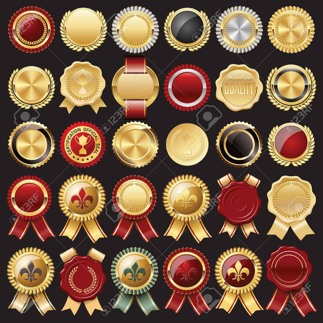 Set of Certificate Wax Seal and Badges - 53156311