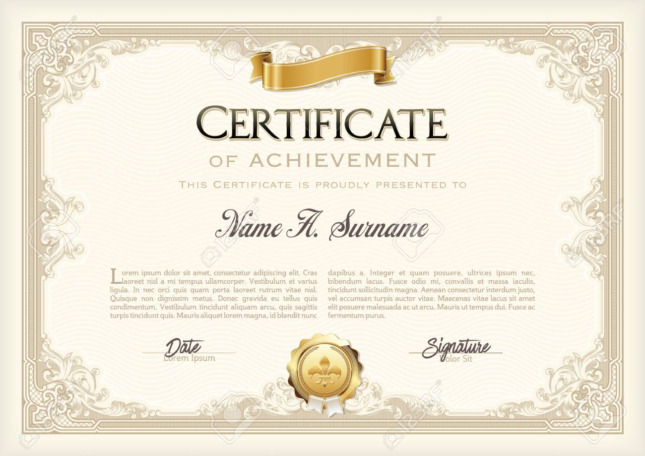 certificate of achievement vintage frame with gold ribbon landscape stock vector 57913679