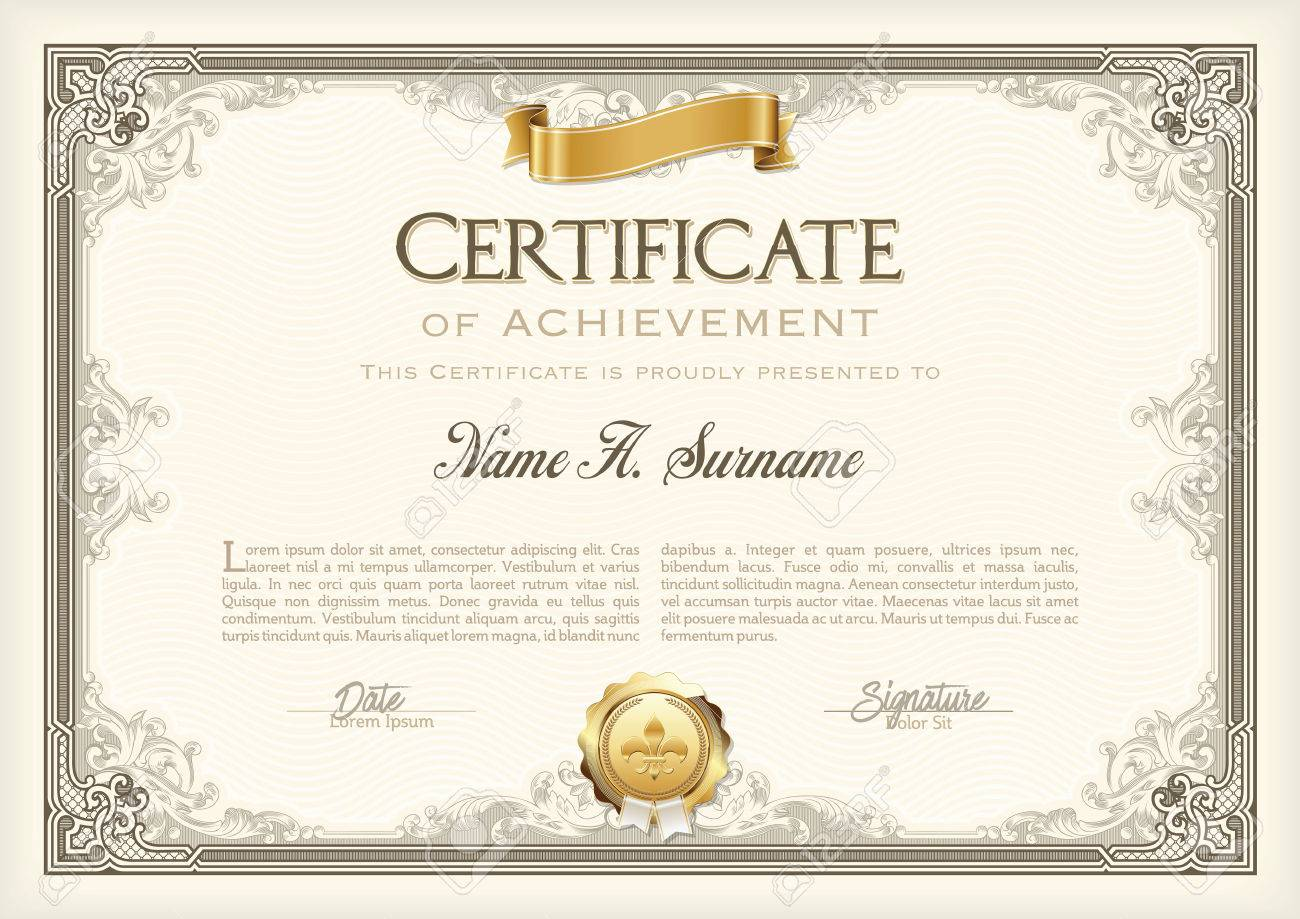 Certificate of Achievement Vintage Frame with Gold Ribbon. Landscape. - 57913689