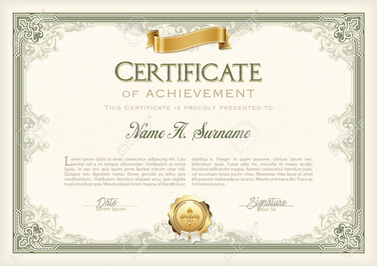 certificate of achievement vintage frame with gold ribbon landscape stock vector 57913691