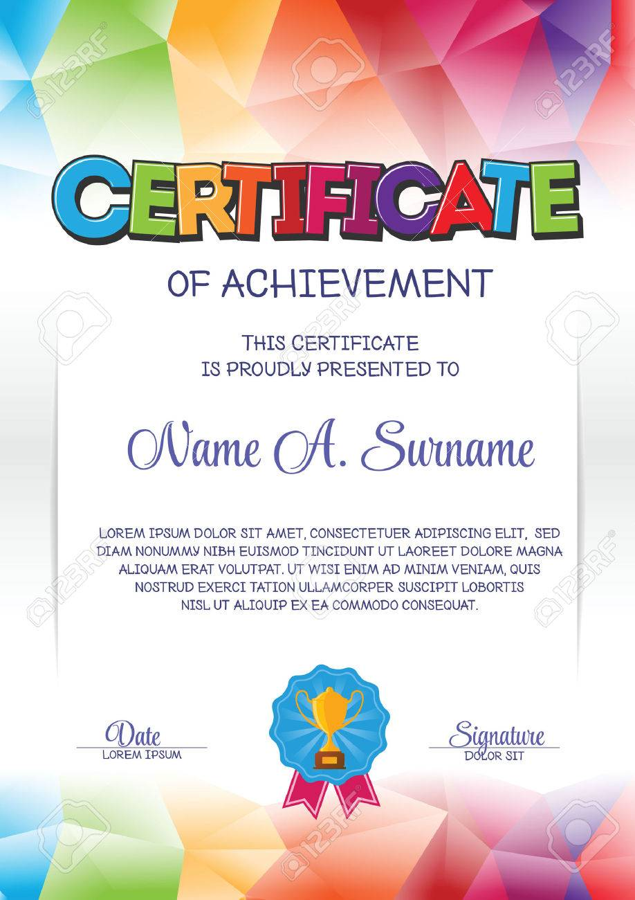 Certificate template with colorful frame for children portrait certificate template with colorful frame for children portrait stock vector 59034914 alramifo Gallery