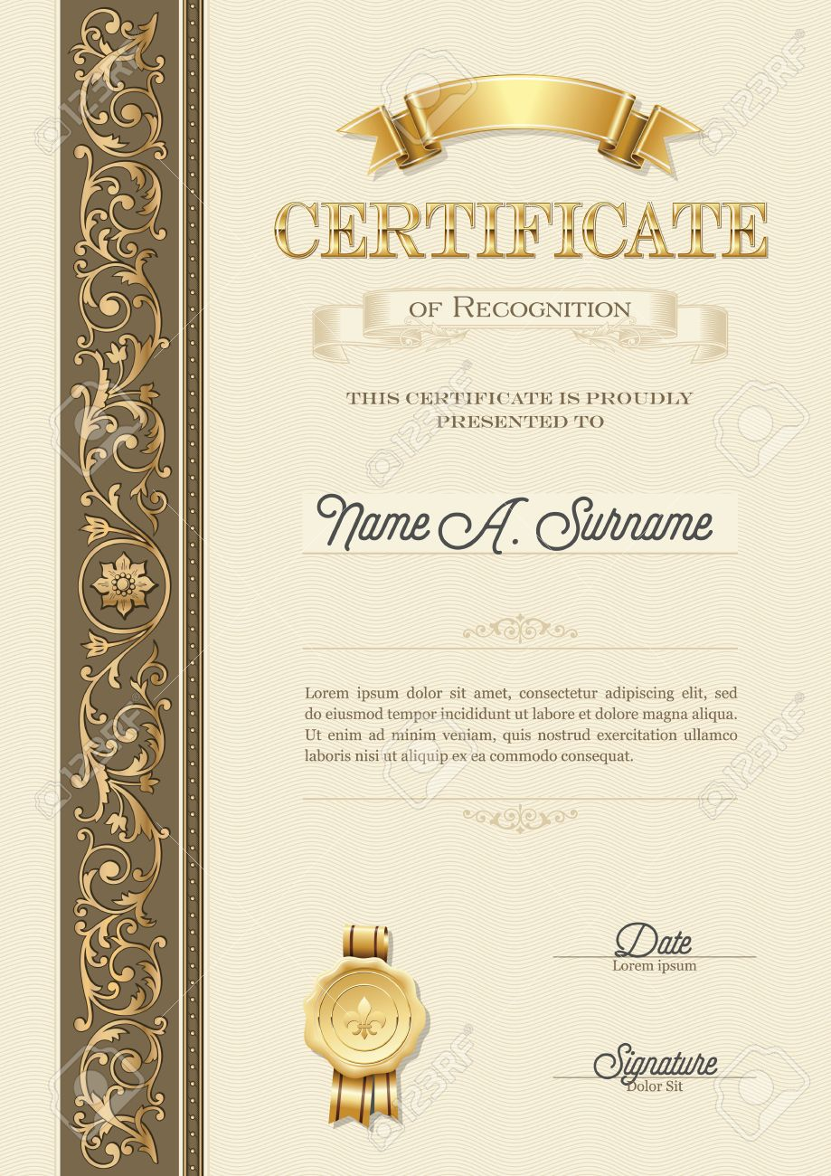 Certificate Of Recognition Vintage Frame Portrait Royalty Free