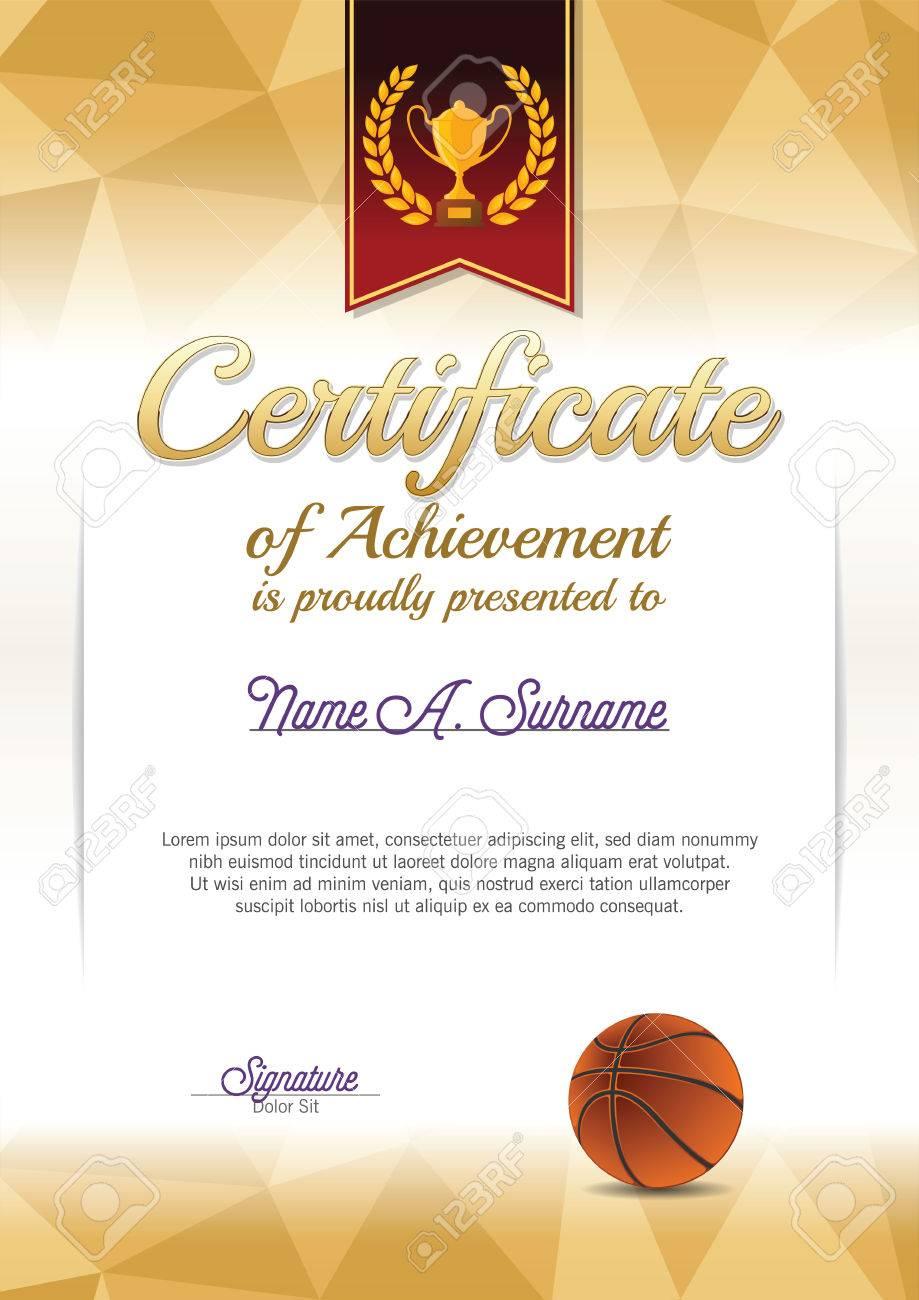 Leistungsnachweis. Basketball-Zertifikat. Porträt. Lizenzfrei ...