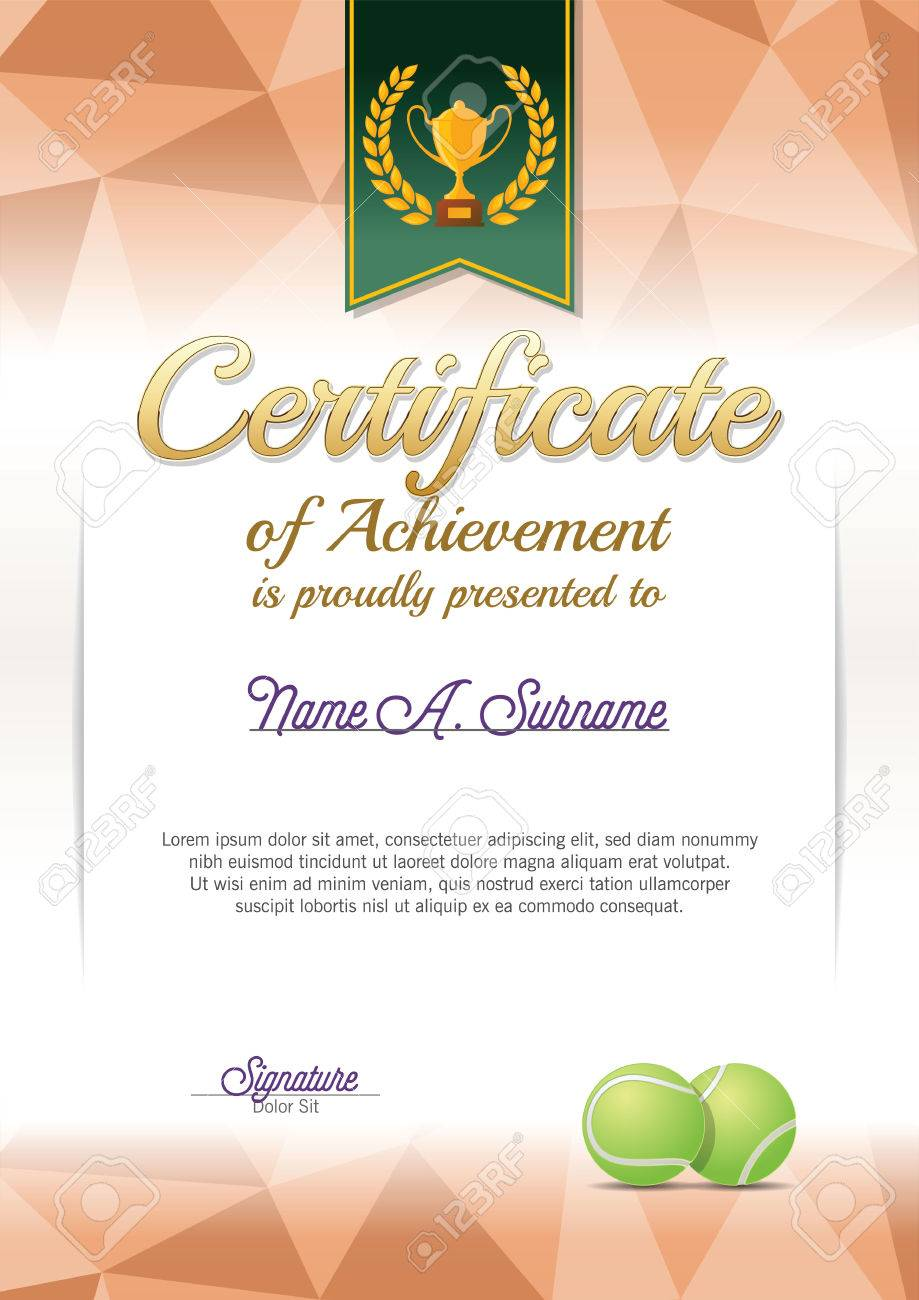 Tennis award certificate template business company profile template vector template certificate diploma tennis sample templates in 63720490 certificate of achievement tennis certificate portrait stock xflitez Image collections