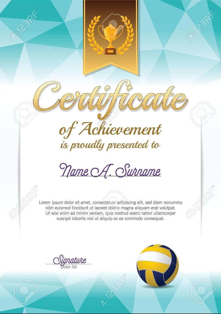 Leistungsnachweis. Volleyball-Zertifikat. Porträt. Lizenzfrei ...