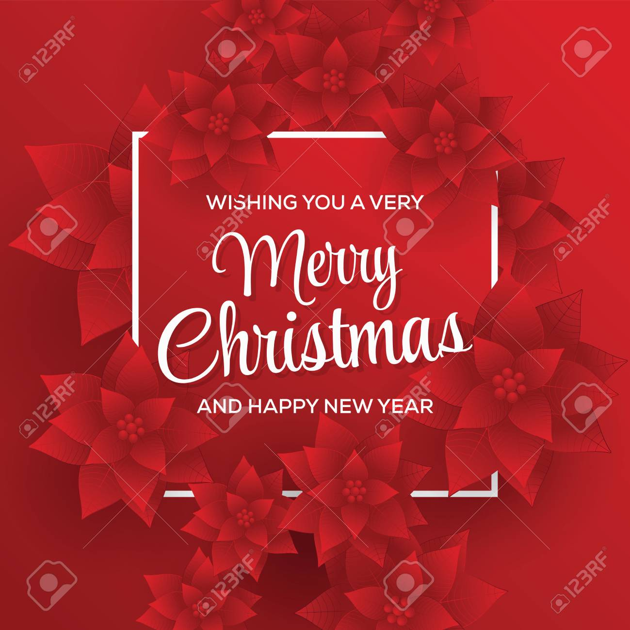 merry christmas card happy new year red background christmas flowers stock