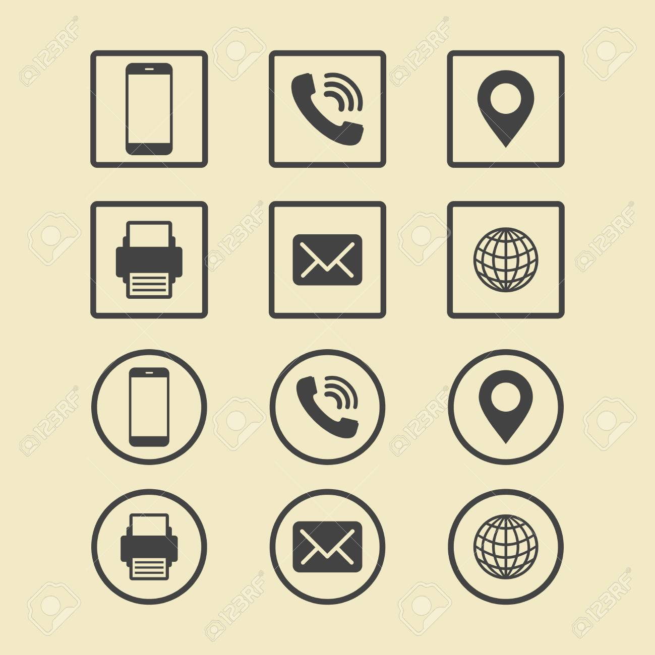 Business Card Icon Set. Web Icons. Royalty Free Cliparts, Vectors ...