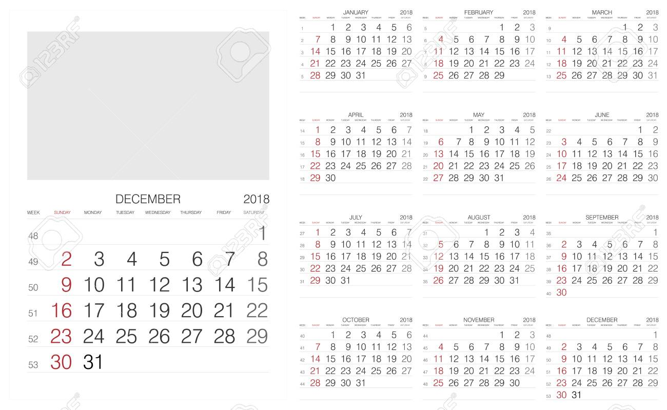 2018 calendar vector print template stock vector 90502584
